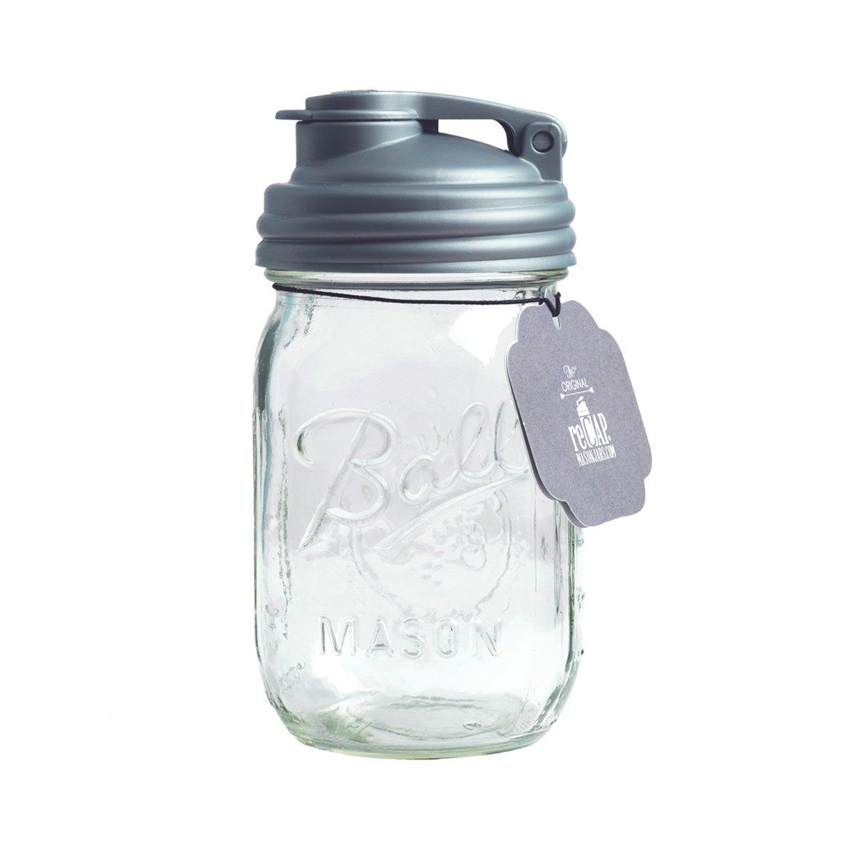 reCAP Mason Jars POUR Cap & Ball Pint Jar, Regular Mouth, Silver