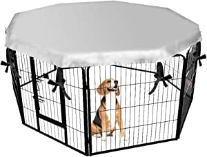 """EXPAWLORER Dog Crate Cover for Outdoor and Indoor- Double Side Waterproof Windproof Shade Kennel Cover, Fits 24"""" Crate with 8 Panel"""