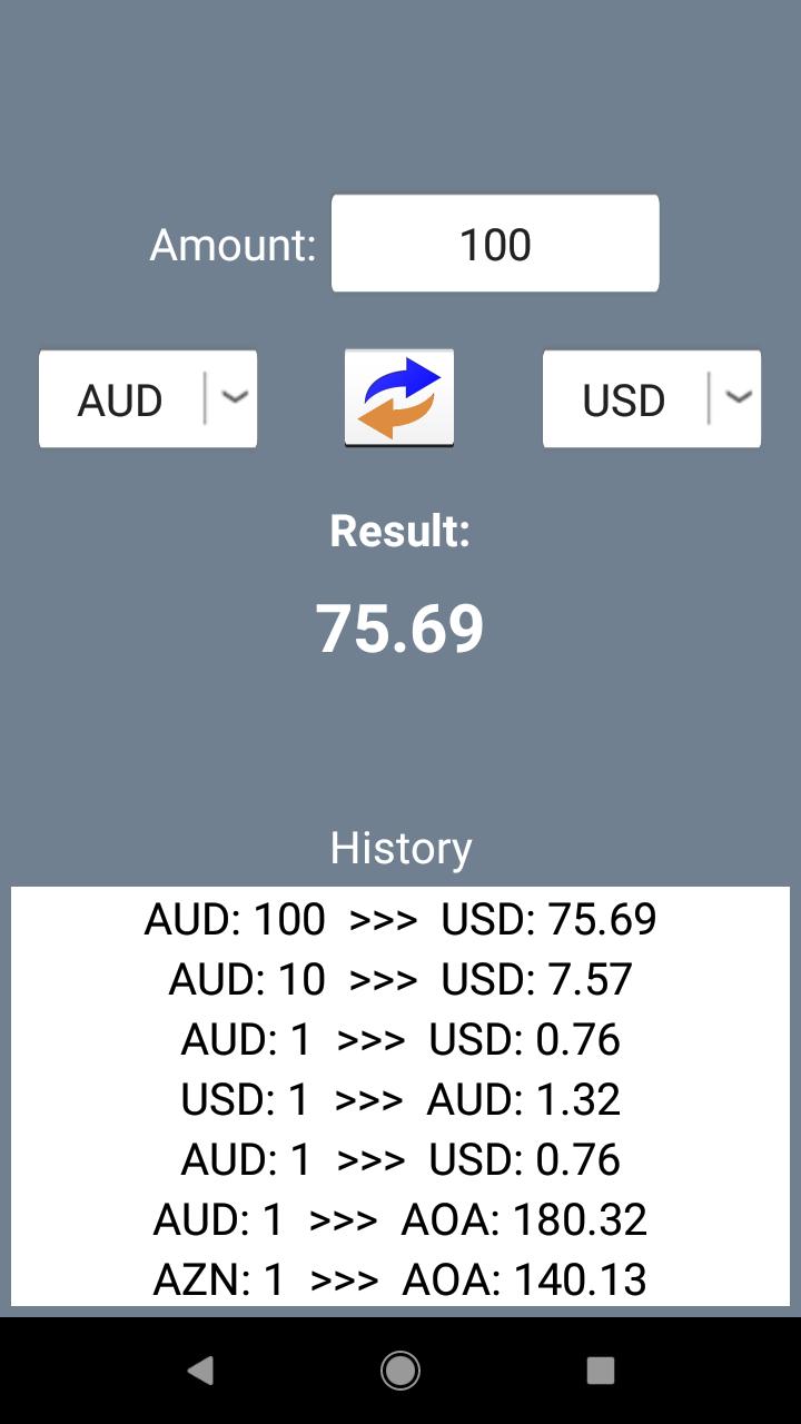 Conversor de monedas. Tipos de cambio de divisas offline