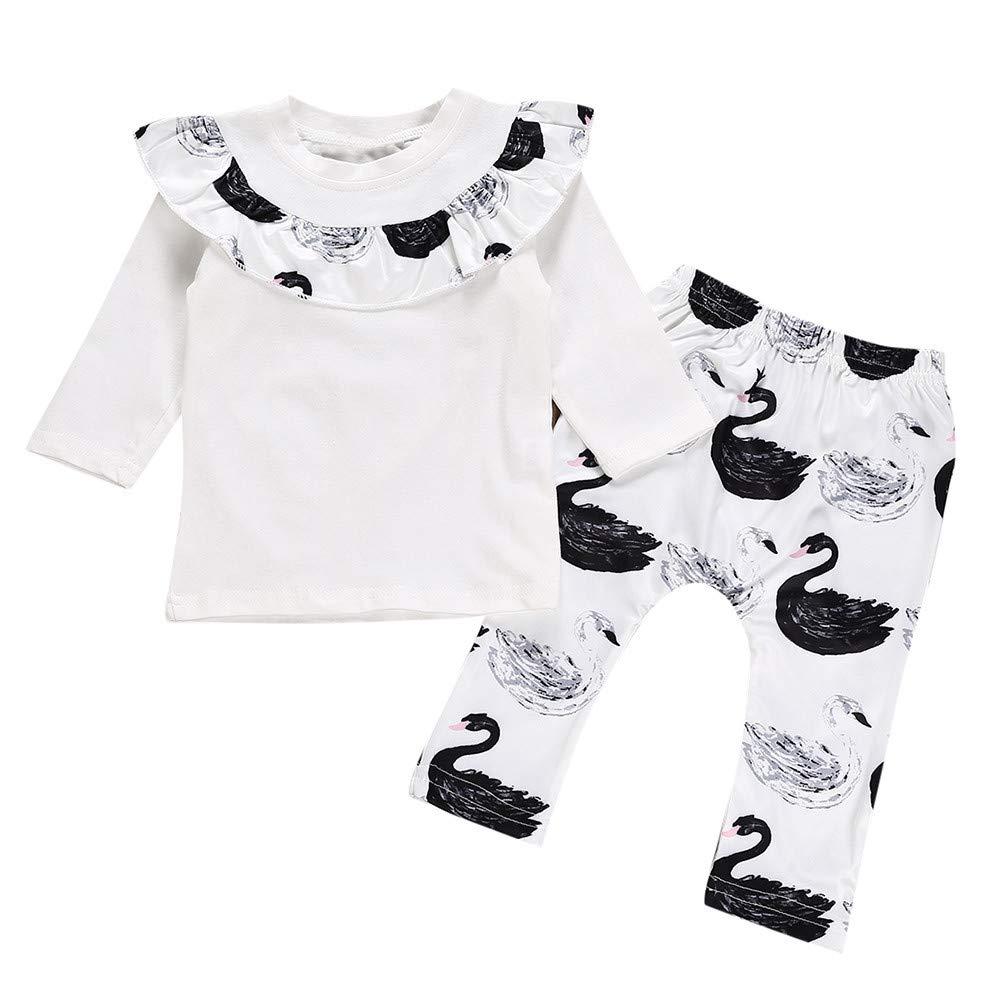 Plot Neugeborenes Baby Mädchen Junge Warm Rüschen T-Shirt Top + Schwan Print Hose Outfits Set Kleidung Set