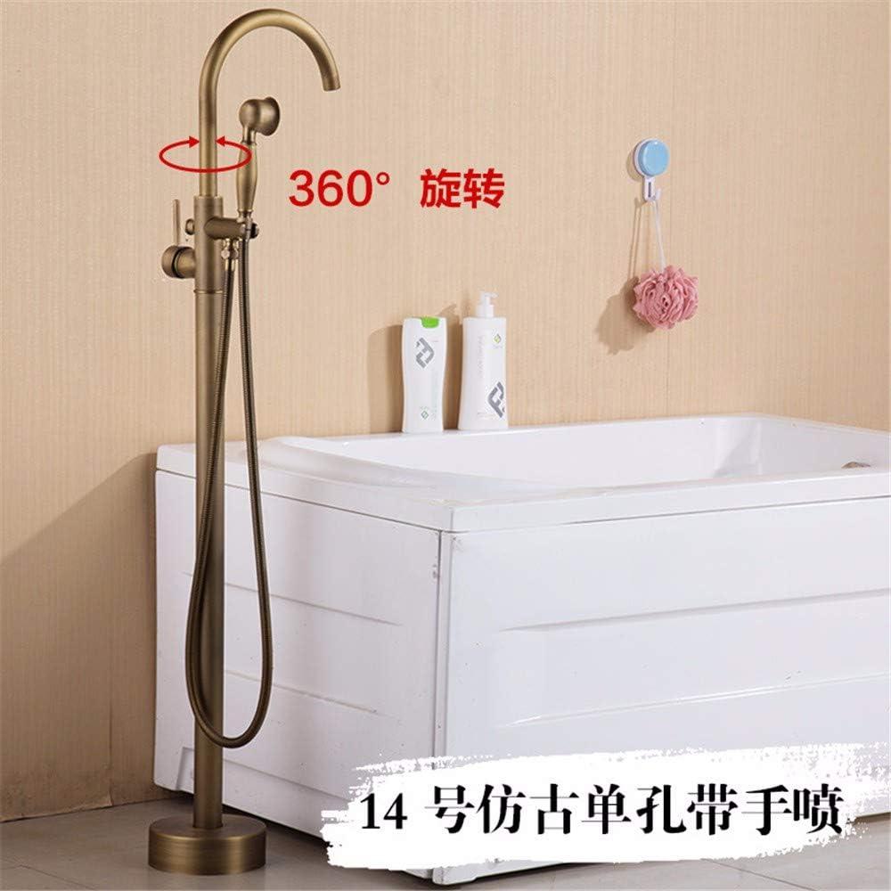 de cobre ducha en el piso de oro T-THSZ Grifo antiguo de la ba/ñera ducha de pie 14 fr/ía ducha en el asiento en el suelo caliente
