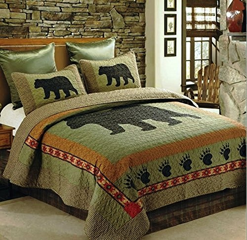 Rustic Home 2pc TWIN Size Lodge Cabin Bear Paw Quilt Set (68