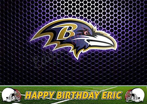 Baltimore Paper Ravens (EdibleInkArt Baltimore Ravens NFL Edible Cake Topper Personalized Birthday 1/4 Sheet Decoration Custom Sheet Party Birthday on Wafer Rice Paper)
