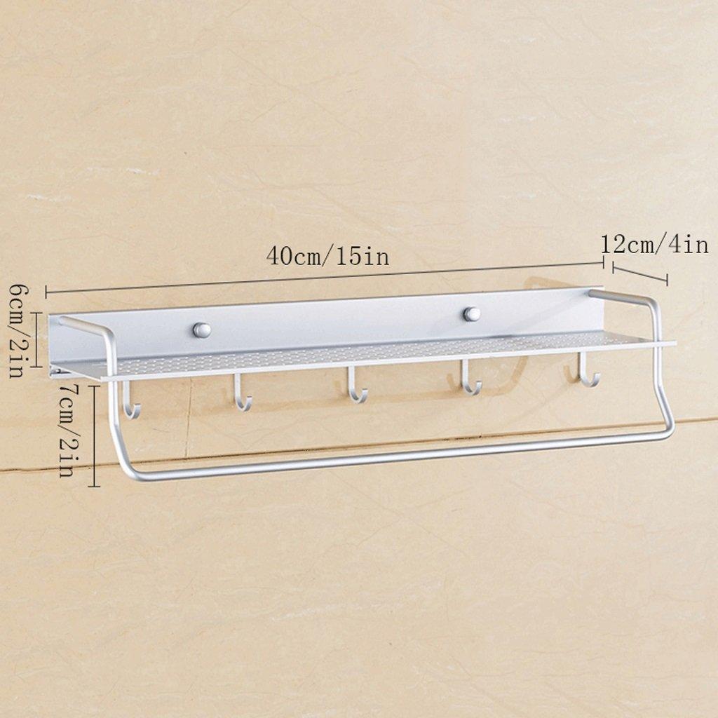 YXN Space Aluminum Bathroom Shelf Single Bathroom Pendant With Hook Metal Pendant Thickened Bathroom Corner Accessories Multi-functional Combination (Size : 40cm)