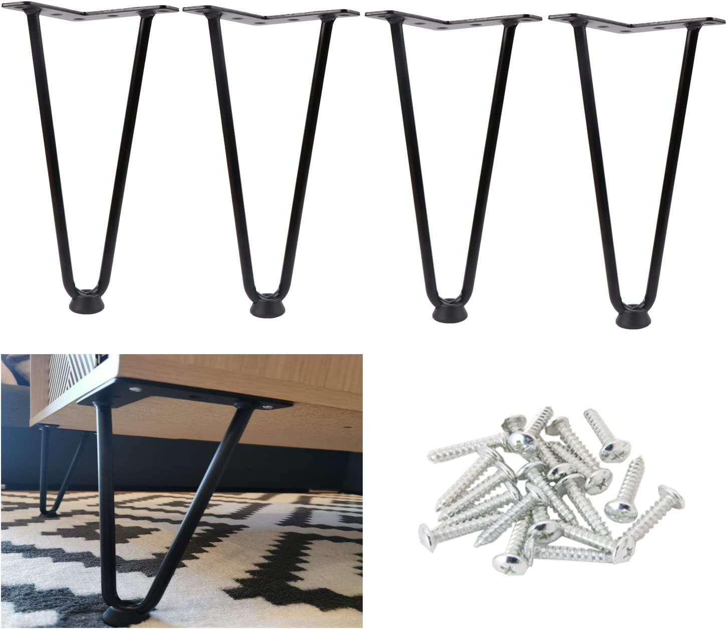 """Osring Black Hairpin Legs 10 Inch Furniture Table Feet, Mid-Century Furniture Hairpin Leg Steel, 3/8""""Dia 2-Rods Coffee Table Feet with Floor Protector Feet, 4 Pack"""