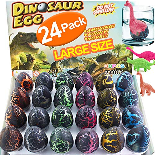 Dreamoo 24 Pcs Dinosaur Eggs, 2.5'' Large Size Novelty Magic Toys Filled Dino Dragon That Hatch in Water Pool Toys for Kids Boys Girls Birthday Holiday Party Favors, Black Crack