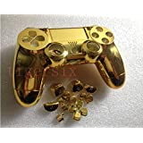 Replacement Chrome Plating Housing Shell Case Cover Part+Buttons for PS4 Controller DualShock 4 Color Gold