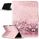 iPad 9.7 2017 Case,ikasus Painted Marble PU Leather Fold Wallet Pouch Case Wallet Flip Cover Card Slots Stand Protective Case Cover for Apple iPad 9.7 Zoll 2017 Case Cover,Rose Gold Marble