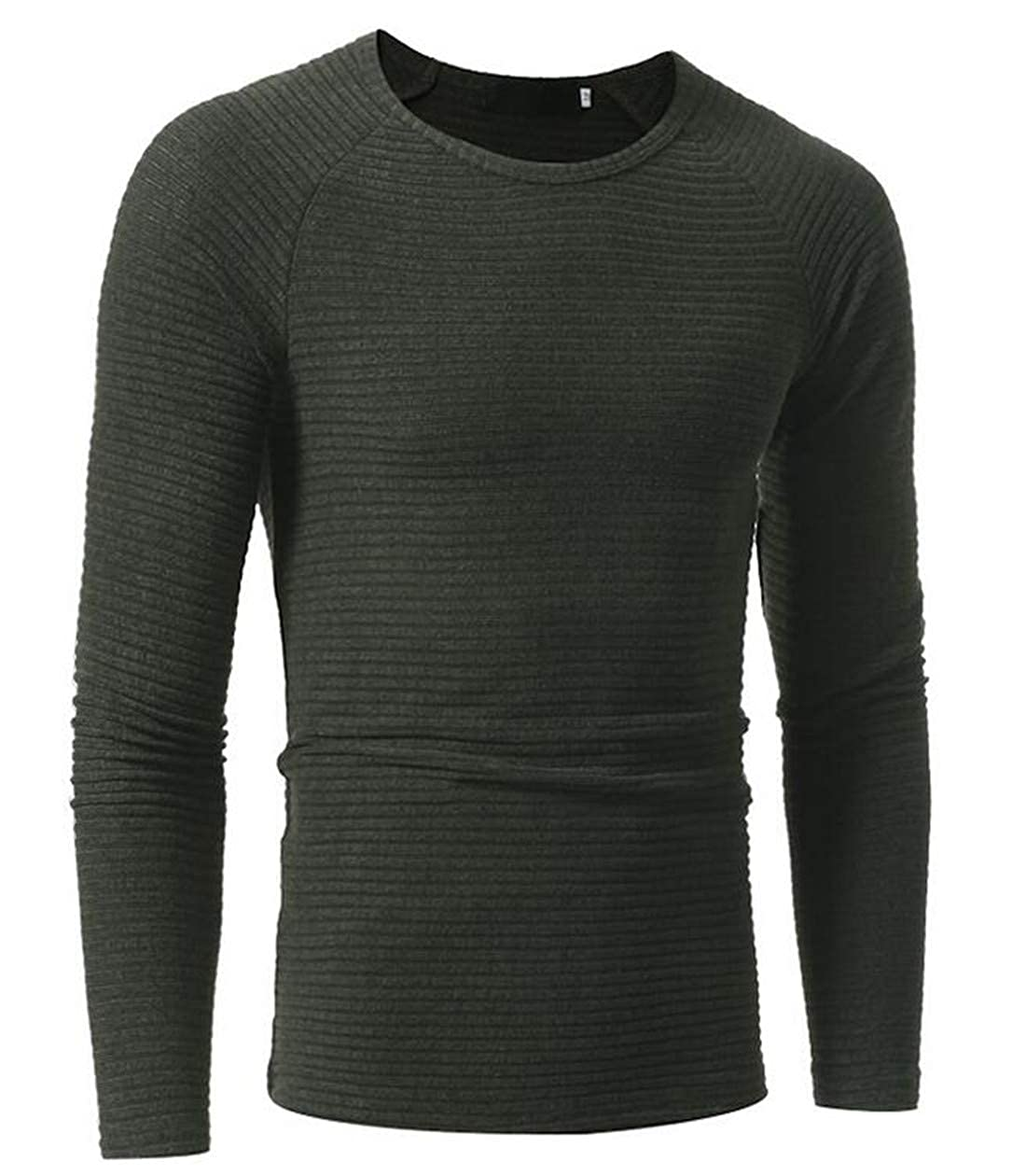 GRMO Men Ribbed Knitted Pullover Crewneck Solid Sweater Blouse Top