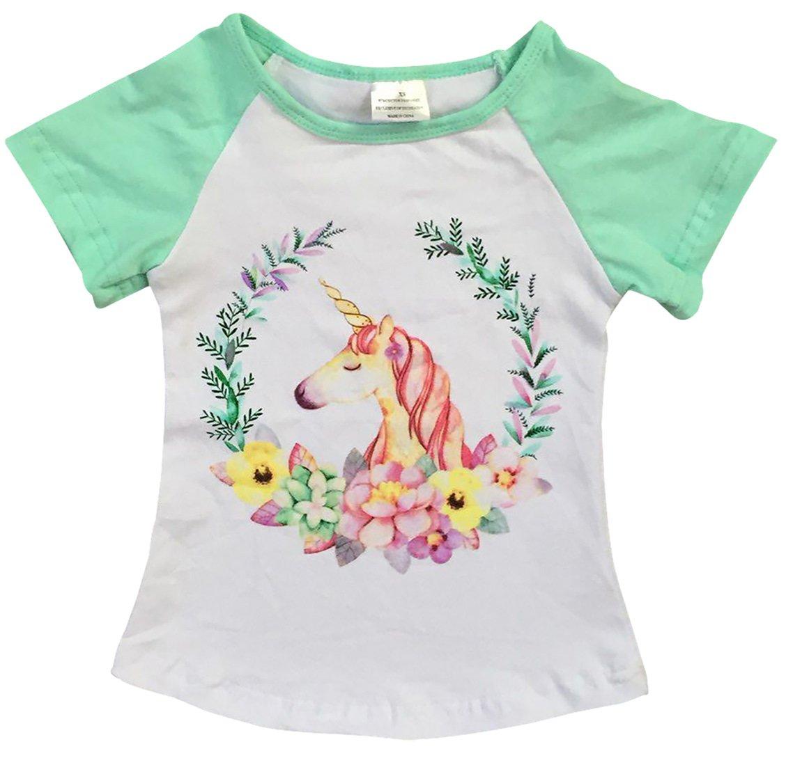 Little Girls' Short Sleeve Unicorn Floral Summer Raglan Top T Shirt Tee Clothing Mint 5 L (P201455P)