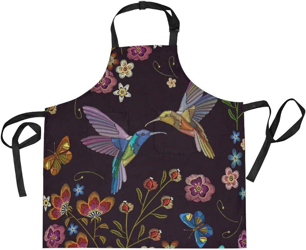 Floral and garden Bird baking apron