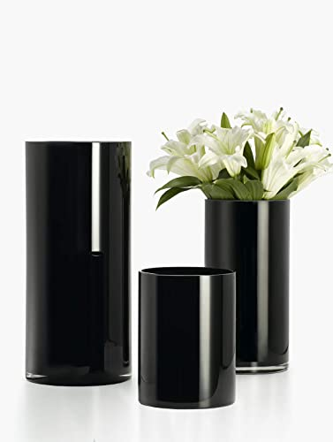 Serene Spaces Living Modern Black Glass Cylinder Vase, Set of 2 – Small and Medium Vase, Smart Modern Design, D cor Accent, Use for Weddings, Parties, Events, Home D cor