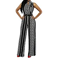 586a2fb9468 Pink Queen Womens Button Up Printed Long Wide Leg Pant Party Jumpsuits with  Belt