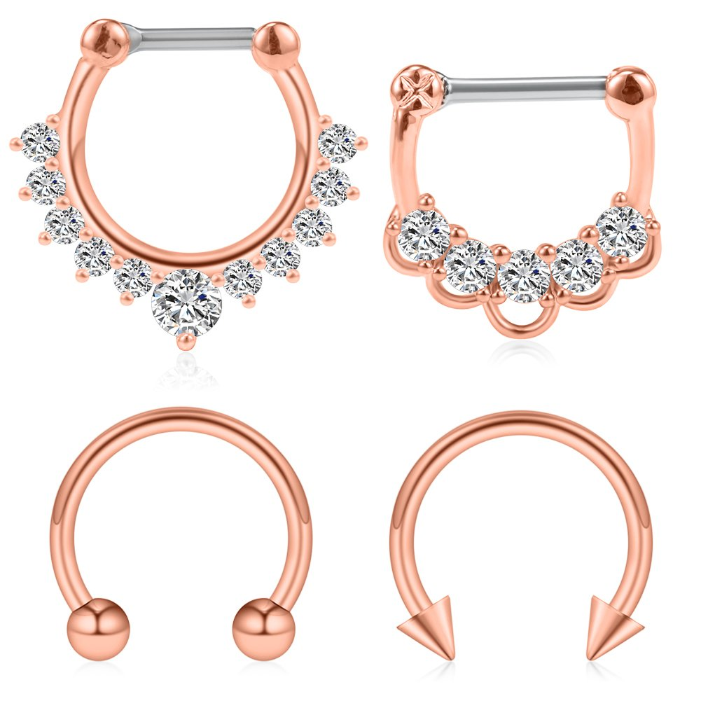 Ruifan 4PCS 16G Surgical Steel Horseshoe & Clear CZ Nose Ear Daith Septum Clicker Ring - Rose Gold by Ruifan