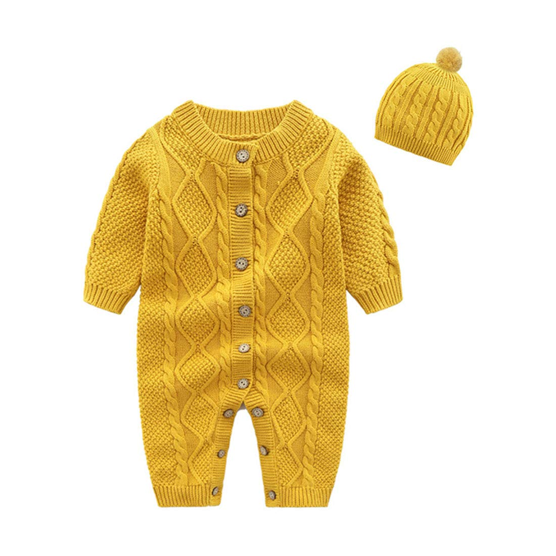 Mornyray Newborn Baby Girls Boys Sweater Jumpsuit Winter Knit Romper Clothes Size 0-3M (Ginger Yellow) by Mornyray