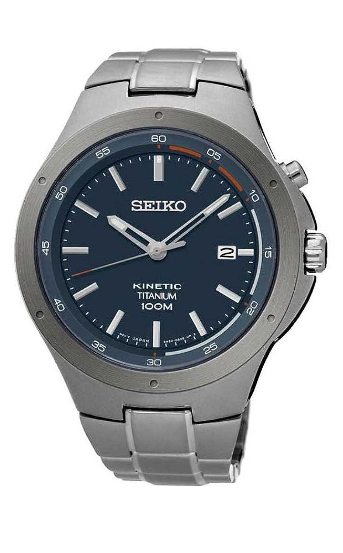 Amazon.com: Seiko Kinetic SKA711 Blue Dial Titanium Band Men's Watch: Seiko:  Watches