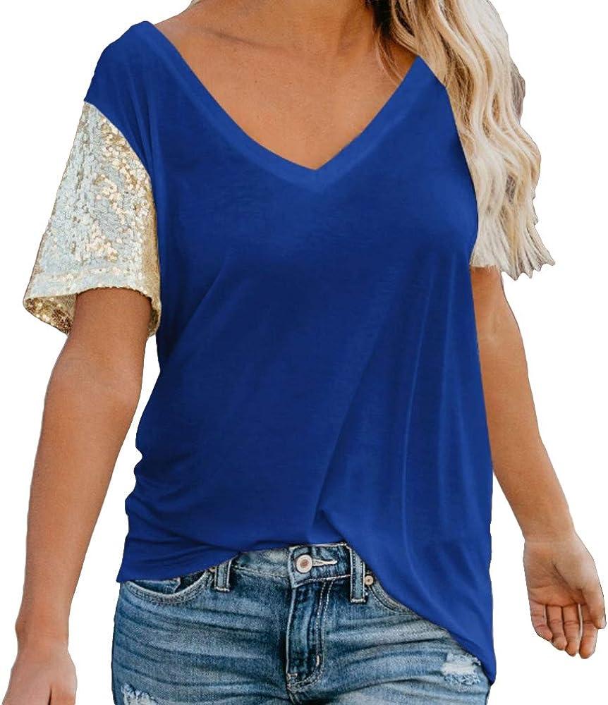 Mujer Verano T-Shirt Lentejuelas Camisa Manga Corta Cuello En V Camiseta Suelto Casual Tops Blusa Tops de Túnica - Blanco, Negro, Azul, Rosa Rojo S-5Xl: Amazon.es: Ropa y accesorios