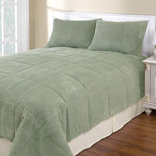 - Cozy Quarters Inc Corduroy 3-Piece Comforter Set Sage King