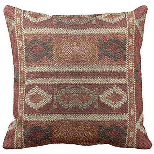 Throw Pillow Cover Ikat Kilim Tapestry Earth Colors Print Decorative Pillow Case Western Home Decor Square 18 x 18 Inch Cushion Pillowcase