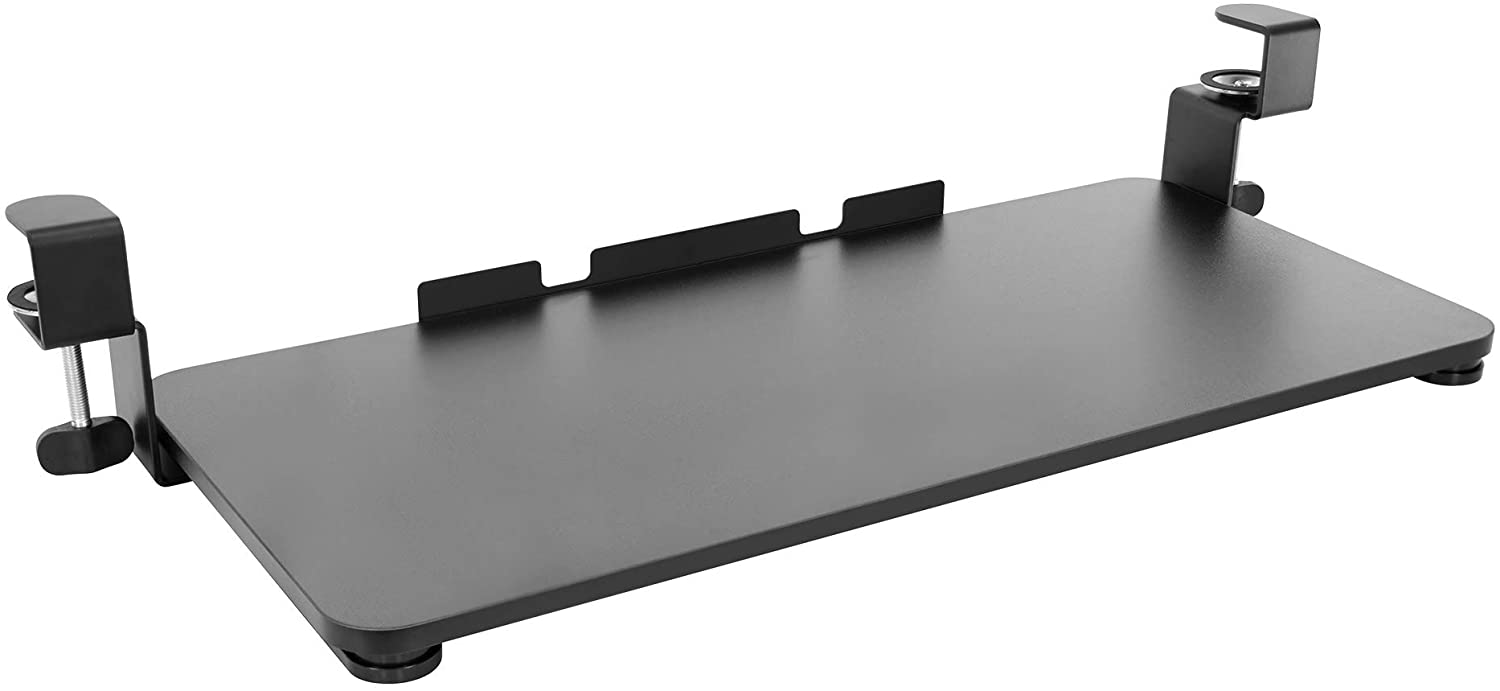 """MOUNT-IT! Clamp Keyboard Tray [26.4"""" x 11.8""""] Ergonomic Sliding Under Desk Keyboard and Mouse Platform, Retractable Undermount Drawer, Easy to Assemble with No Screws or Scratches (Black)"""