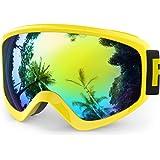 Findway Maschera Sci Bambino Occhiali Sci Maschera da Sci Bambino Specchio Occhiali da Sci OTG per Ragazzo Ragazza Anti UV Anti Nebbia Compatibile con Casco per Sci Snowboard Altri Sport Invernali