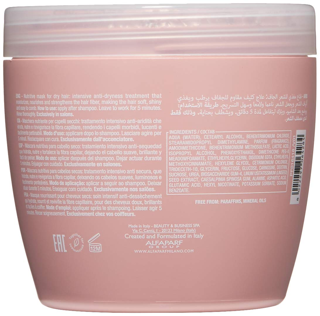 Alfaparf Milano Semi Di Lino Moisture Nutritive Mask for Dry Hair - Safe on Color Treated Hair - Sulfate, SLS, Paraben and Paraffin Free - Professional Salon Quality by Alfaparf Milano (Image #2)