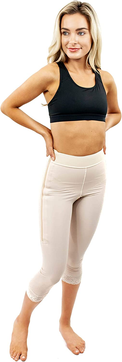 "ContourMD Post Surgery Compression Shorts Mid Calf 2"" Lycra Girdle Thigh Slimmer Style1"