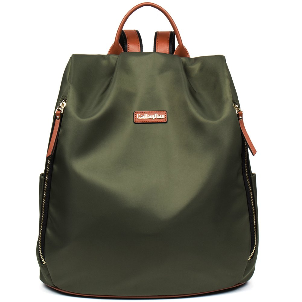 [CLEARANCE]CALLAGHAN Canvas Backpack Purse Large Lightweight School Backpack for Women Army Green