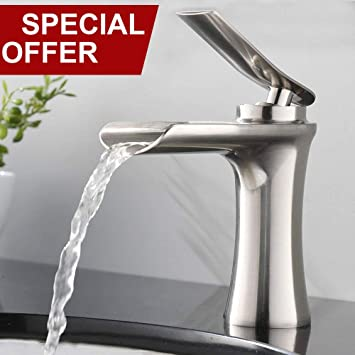 Valisy Modern Comercial Spout Single Lever Brushed Nickel Waterfall