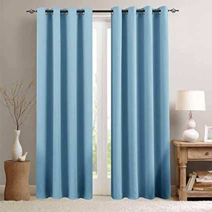 TOPICK Light Blocking Royal Blue Blackout Curtains Room Darkening Thermal  Insulated Decorative Curtain Panels/Drapes Solid Eyelet Top Window for ...