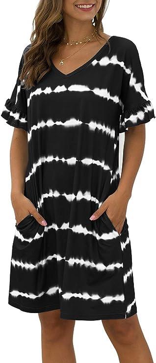 MOUSYA Women Tie Dye Dress Short Sleeve T Shirt Dress Floral Print Loose Mini Dress with Pockets