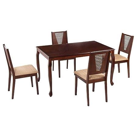 Woodness Mali 28005+28016 4 Seater Dining Table Set (Matte Finish, Wenge)