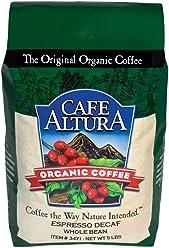 Cafe Altura Whole Bean Organic Coffee, Espresso Roast Mountain Water Decaf, 5 Pound