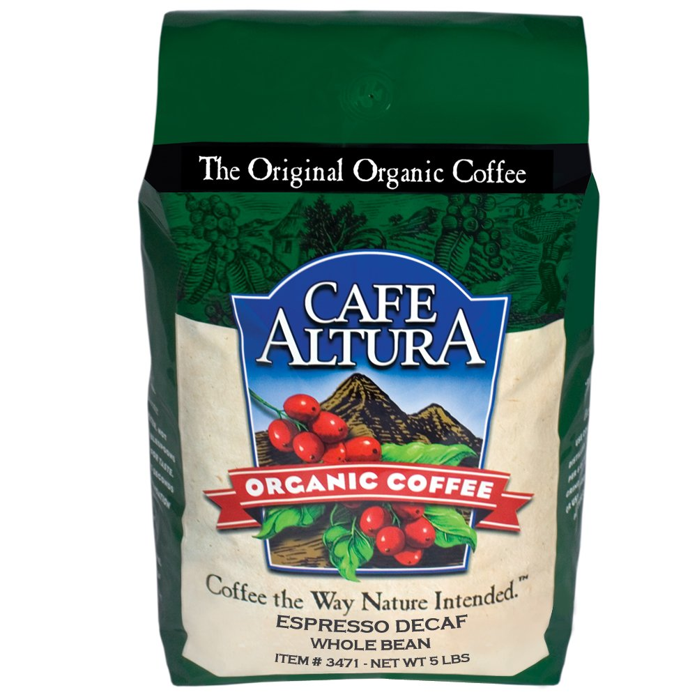 Cafe Altura Whole Bean Organic Coffee, Espresso Roast Mountain Water Decaf, 5 Pound by Cafe Altura
