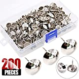 Hilitchi 200-Pieces 9/16'' (14mm) Antique Upholstery Nails Tacks Furniture Tacks Upholstery Tacks Thumb Tack Push Pins Assortment Kit (Silver)