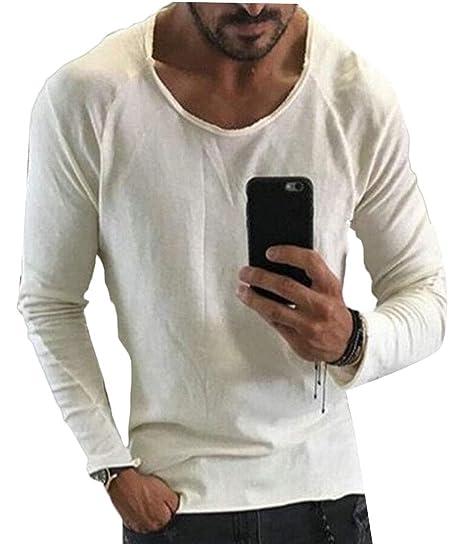 ee1603a53 ainr Men's Crewneck Long Sleeve Solid Tunic Basic Hipster Hip Hop T-Shirt  ...