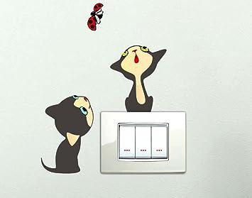 Adhesivos para interruptor conectores placas divertidos gatos Wall Stickers Pegatinas de pared decorativo decoración de habitación infantil: Amazon.es: ...