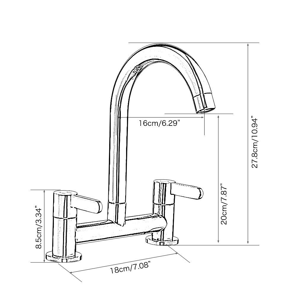 2 Hole Deck Mounted Black Stronghigheu Kitchen Sink Mixer Taps Dual Lever 1 4 Turn Easy Use Double Wheel Handle Swivel Spout Sink Tap Kitchen Sink Taps Diy Tools