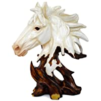 Tied Ribbons Resin Horse Statue (13.99 cm x 13.99 cm x 24.99 cm, White)