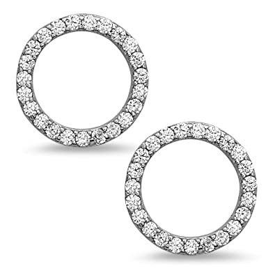 2efd86729 Amazon.com: Sterling Silver Open Circle Stud Earrings – Minimalist CZ  Jewelry in Black, Gold, Rose Gold or Silver : Home & Kitchen