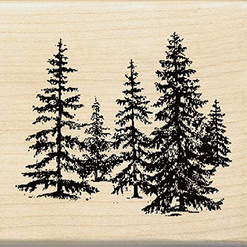 Inkadinkado Pine Tree Wood Stamp for Arts and Crafts, 2.25