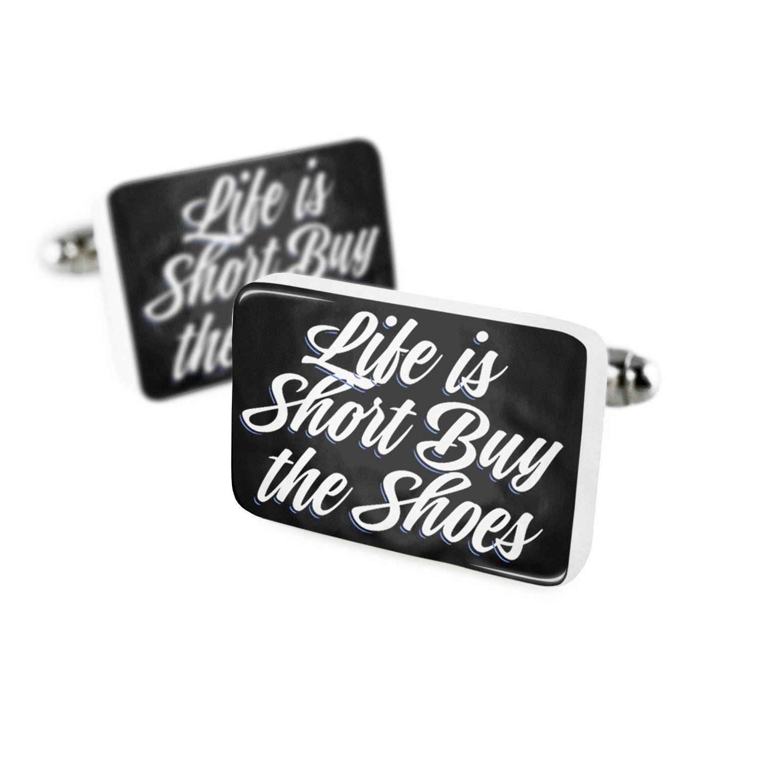 Cufflinks Classic design Life is Short Buy the Shoes Porcelain Ceramic NEONBLOND