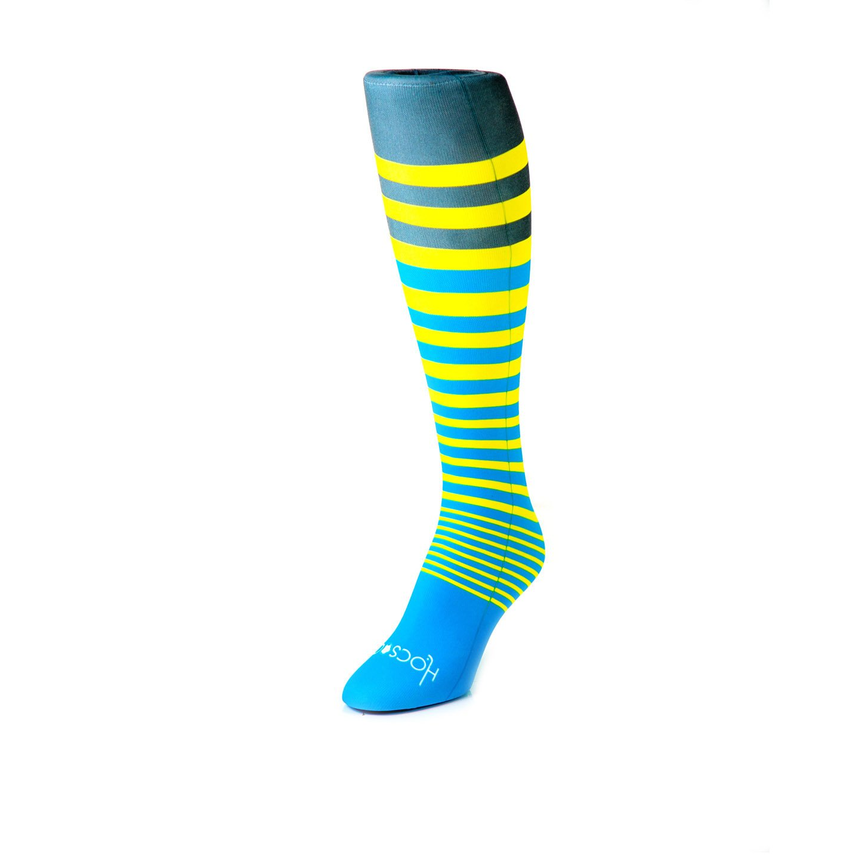 Hocsocx Stripes Performance Rash Guard Under Socks - 3 Styles/Women's (Lt Blue/Yellow/grey)