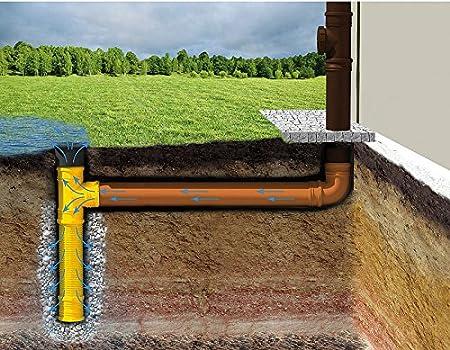 Tubo de drenaje de agua de lluvia, diámetro 110 DN 100 con pieza en forma de T, tubo de desagüe, drenaje para jardín, rejilla para rebosadero: Amazon.es: Bricolaje y herramientas
