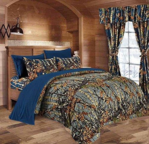 Hunter Camo Comforter, Sheet, & Pillowcase Set (King, Gray / Navy)