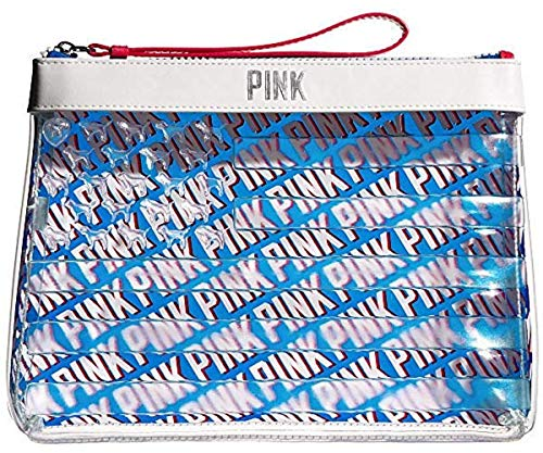 (Victoria's Secret Americana Chill Beauty Bag cosmetic pouch clutch, Red White Blue Clear)