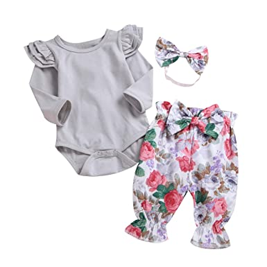 058a728da 3PCS Clothes Set Newborn Toddler Baby Girl Ruffle Romper Bodysuit Jumpsuit  Floral Halen Pants with Headband
