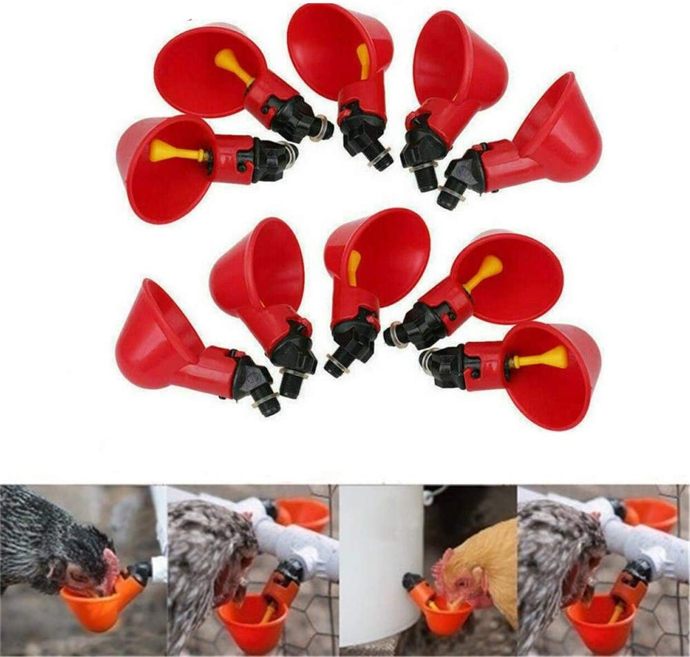 20pcs Automatic Chicken Drinker Cups Plastic Poultry Waterer Water Drinking Bowl