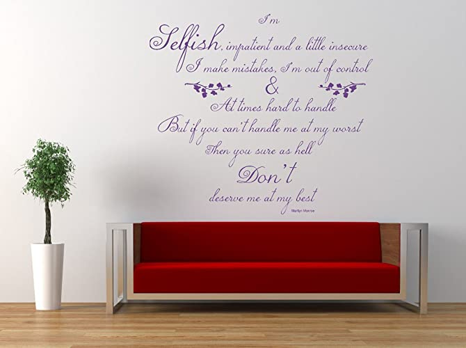 Cool Amazon Com Marilyn Monroe Im Selfish Quote Vinyl Wall Pdpeps Interior Chair Design Pdpepsorg