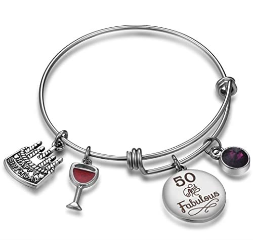 Amazon NBE Collection Birthday Gifts For Her Expandable Bangle Bracelet W Birthstone Charm Women Girls Best Friend 50th February Jewelry